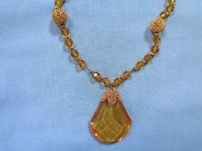 Gorgeous Vintage ART DECO Topaz Glass Bead & Pendant Necklace - Faceted Dangle