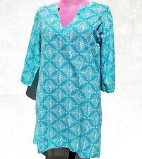 JOHN ROBSHAW Women s HAND BLOCK PRINT COTTON TUNIC DRESS V-Neck 3 4 Sleeve 5294bcaa9b87
