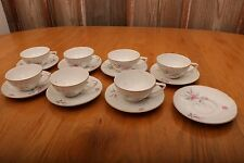 Fine China of Japan MSI Golden Rose Cups and Saucers Pink Roses Grey Leaves