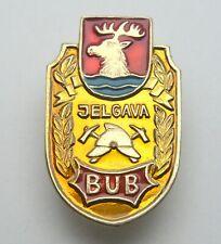LATVIA VOLUNTARY FIRE SOCIETY JELGAVA CITY COAT OF ARMS FIREFIGHTERS PIN BADGE