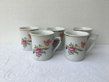 5 JL Menau Porcelain Ribbed Mugs/Cups Floral Design Henneberg German (261)