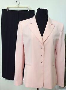 Tahari Kasper Mismatched Women Pink Black Stripe 2Piece Pant Suit Sz 14 EUC!