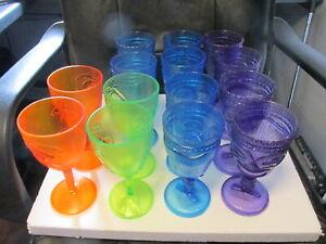 Wine Goblet Glasses Set of 14 in Blue, Purple, Green & Orange Plastic New