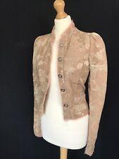Zara campaña edición limitada de estilo victoriano Jacquard Chaqueta Beige/Rosa XS BNWT