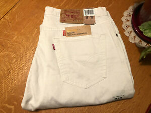 LEVIS 505 RED TAB STRAIGHT FIT WHITE JEANS 34 X 32 NWT VERY NICE!