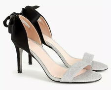 NEW JCREW D'Orsay Sandals In Satin and Glitter Size10.5 K2926 Silver/Black