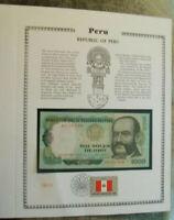 Peru Banknote 1000 Oro 1979 P 118 UNC with  UN FDI FLAG STAMP Prefix A-N