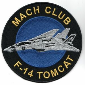 """4"""" NAVY F-14 TOMCAT MACH CLUB ROUND MILITARY EMBROIDERED JACKET PATCH"""