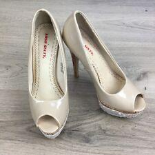 Miss Sixty Platform High Heels Nude/Tan Shoes Pumps Stiletto Size 36 (BP16)