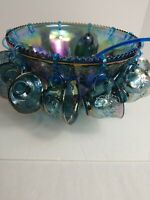 Indiana Irradescent Blue Carnival Glass Punch Bowl with 12 Cups, Ladel and Hooks