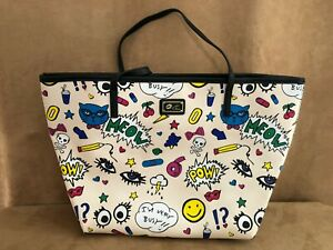 LUV Betsey Johnson purse cartoon Bag carrie pow meow cat shoulder tote drawings