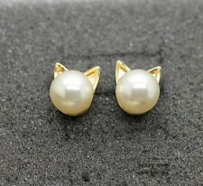 E068 Free shipping Cute Pearl Cat Head Studs Earrings  wholesale HY