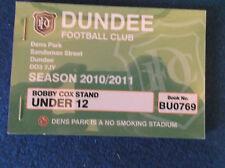 Dundee FC Season Ticket 2010/11 booklet - unused.