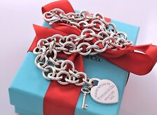 "Return to Tiffany & Co Sterling Silver Heart & Mini Key Charm 16"" Necklace RARE"