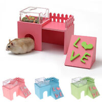 3 in 1 Wood House Hamster Hut Cage Accessories Feeding Bowl Exercise Ladder Toy