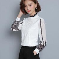 Fashion Spring Women White Lace Chiffon Shirt Long Sleeve Slim Formal Blouse Top