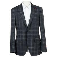 NWT $3800 ISAIA Sanita Gray Windowpane 100% Wool Sport Coat Jacket 40 US 8R