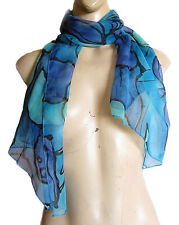 Ladies Women Fashion BLUE FLOWERS SCARF MINI SARONG, 133 cm long 54 cm wide new