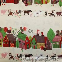 BonEful Fabric FQ Cotton Quilt VTG Border Baby Animal Farm Horse Sheep Cow House
