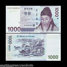 SOUTH KOREA 1000 WON P54 2007 YI HWANG MOUNTAIN UNC CURRENCY KOREAN MONEY BILL
