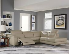 ALL LEATHER TAUPE POWER RECLINING SOFA CHAISE SECTIONAL FURNITURE SALE
