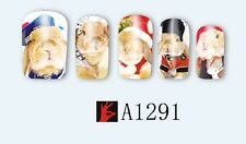 Nail Art Water Decals Stickers Transfers Wraps Easter Bunny Rabbits Kawaii A1291