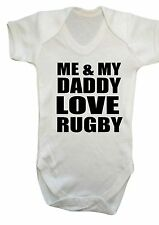 Baby boy girl Me & My Daddy Love RUGBY BABY BODYSUIT,vest,top,white,pink,blue