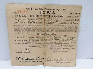 1914 Cloth Iowa Resident Hunting License - Eldora - Hardin County