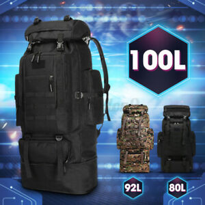 100L Large Military Tactical Travel Backpack Bag Hiking Outdoor Rucksack Camping