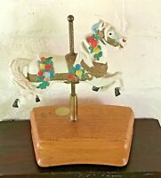 Bisque Porcelain Carousel Horse Limited Edition Tobin Fraley Music Box 8 3/4""