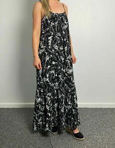 Womens Wallis Floral Black Tropical Print Jersey Long Maxi Dress Size 8-18