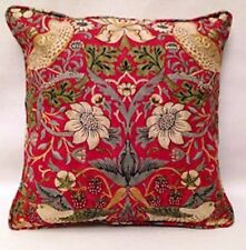 "William Morris Strawberry Thief  Pair Of Cushion Covers -Crimson Slate 16""x 16"""