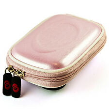 Pink Semi Hard Compact Camera Pouch Case w/Clip For Canon IVY REC Outdoor Camera