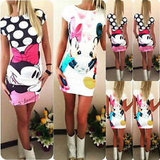 UK Womens Cartoon Minnie Mouse Bodycon Party Summer Slim Short Mini Dress 6-16