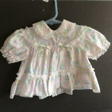 Vintage Baby Girl Dress 6-9 M White Frilly Lace Floral Print NWOT