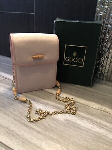 RARE Vintage Gucci Pink Bamboo Gold Chain Purse
