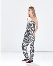 Zara Black and White Floral Linen Bandeau Strapless Jumpsuit small