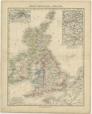 Antique Map of the United Kingdom and Ireland by Petri (c.1873)