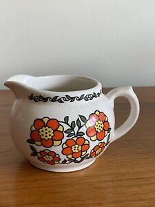 1970's Retro Taunton Vale Orange Flower Pattern Milk Jug (B21)