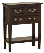 Hall Table, W65xD35xH83, Dark Brown, Timber Table, 3 Drawers and Shelf