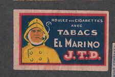 Ancienne  étiquette Allumette  Belgique  BN2812 Tabac El Marino Marin