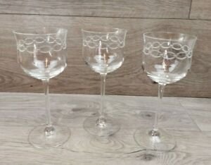 3 x Vintage Tall Stemmed Etched Chain Pattern Wine Glasses - Signed  CA