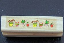 Small Mini Cartoon Flower Potted Plants Border Rubber Stamp
