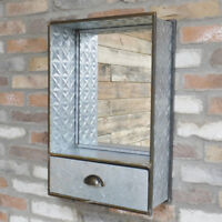 Industrial Wall Unit Mirror 1 Drawer Mounted Storage Cabinet Display Shelving