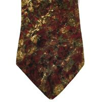 Valentino Cravatte Maroon Floral Abstract 100% Silk Necktie Made in Italy