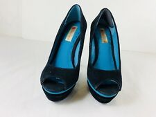 Two Lips High Heels Black Aqua Women's Shoes Open Toe Size 7 velvet soft