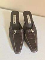 BRIGHTON Womens York leather mules buckle shoes 7 M croc Brown