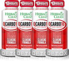 4 Bottle Herbal Clean QCarbo16 Same-Day Detox Drink Tropical Flavor 16 oz