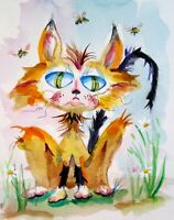 big eyed cat animal whimsical watercolor painting 12x9