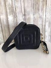 VTG Jay Herbert Dark Navy Blue Leather Square Camera Chain Shoulder Bag RARE *